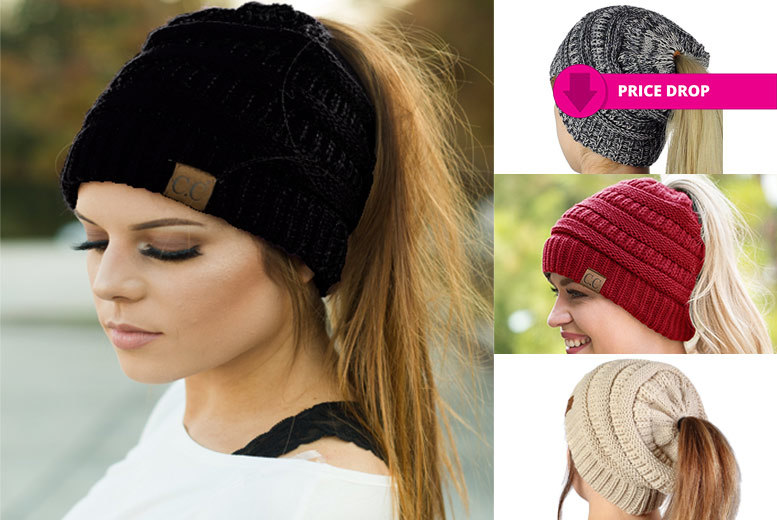 Ponytail Beanie Hat – 4 Colours! for £4.99