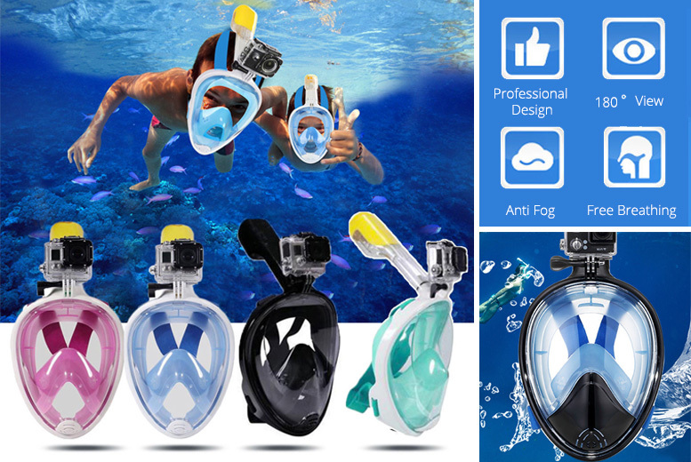 Snorkel Mask with GoPro-Compatible Mount – 2 Sizes & 4 Colours! for £19.00