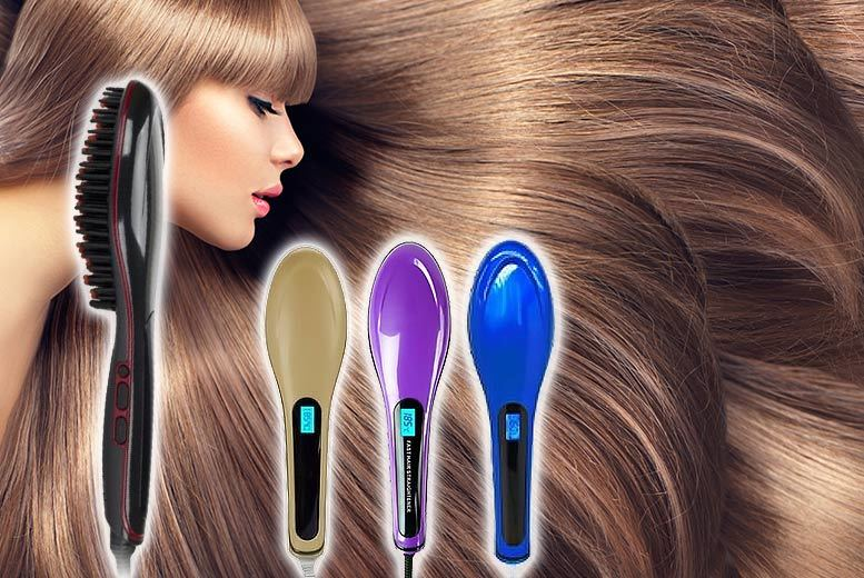 £19 instead of £79.99 (from EFMall) for an electric hair straightening brush - choose from purple, blue, black and gold and save 76%
