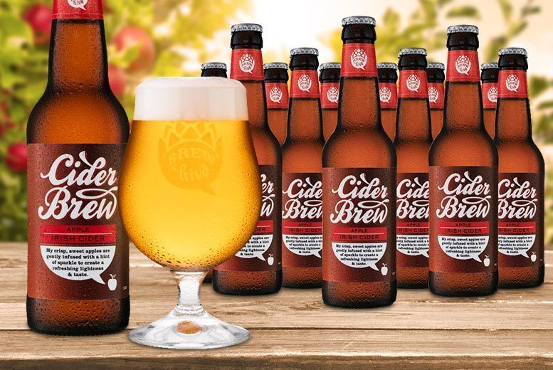 £15.99 instead of £45.95 for 20 bottles of apple Irish cider and engraved crystal glass from Brewhive - save 65%