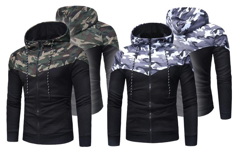 Men's Camo Zip Hoodie – 2 Colours & Sizes S-XL! for £14.99
