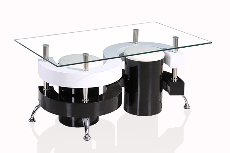 Designer Tempered Glass Coffee Table & 2 Stools for £79.00
