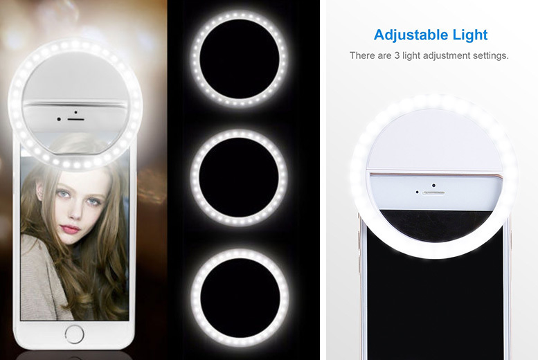 Selfie LED Ring Light with 36 Super Bright Bulbs – 3 Colours! for £4.99