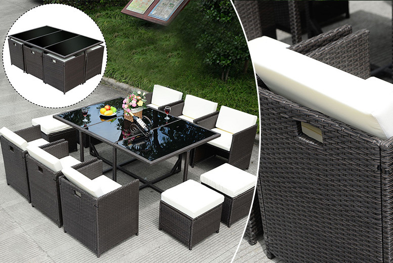 11pc Rattan Cube Dining Set
