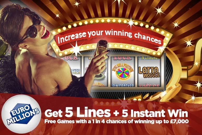 £2 instead of £4 for five syndicated EuroMillions lines and five instant win games with chances for an up to £7k win from Lotto Social - save 50%