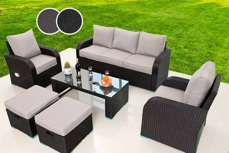 £429 instead of £975 (from Dreams Living) for a rattan recliner lounge set - choose from black or brown colours and save 56%