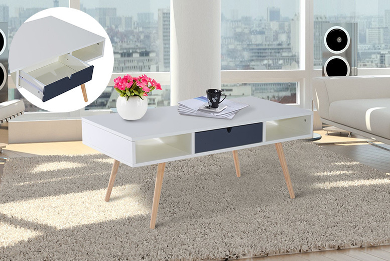 Scandinavian-Style Coffee Table with Drawer for £49.00