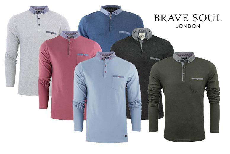 Men's 'Hera' Brave Soul Long-Sleeved Polo – 6 Colours & Sizes S-XL! for £9.99