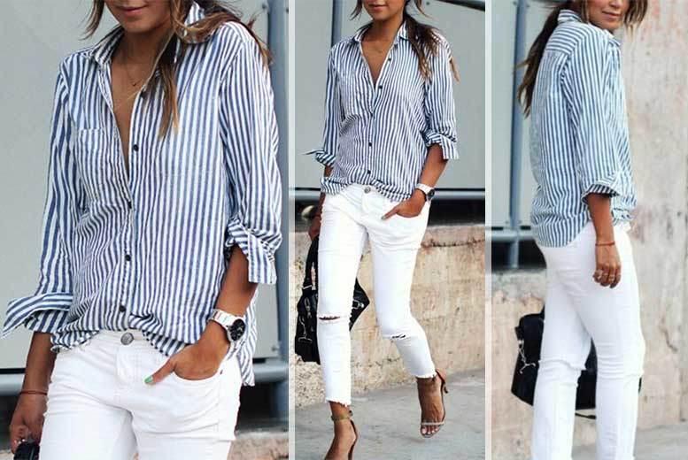 Ladies' Blue & White Striped Shirt – UK Sizes 6-14! for £9.00