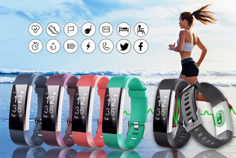 14-in-1 Fitness Tracker with Heart Rate Monitor – 5 Colours! for £18.00
