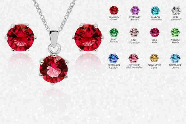 Crystal Birthstone Earrings and Pendant Set – 12 Colours! for £12.00