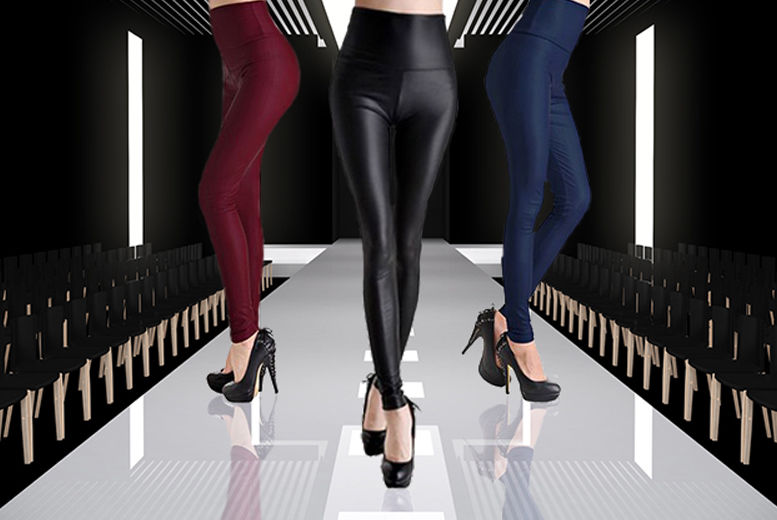 Ladies Leather Look Leggings – 3 Colours & 4 Sizes! for £2.99