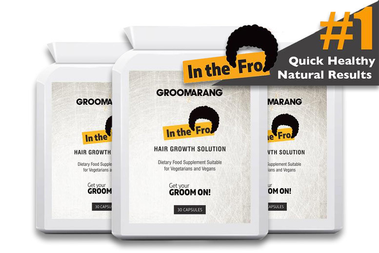 1 or 3 Month Supply* of Groomarang 'In the Fro' Hair Growth Tablets from £6.00