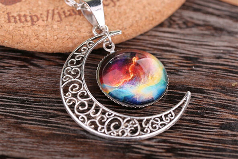 Galaxy and Moon Necklace