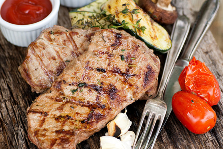 £26 for a 12oz ribeye steak meal with chocolate cheesecake for two, a bottle of house wine to share and a £5 bet each at Rendezvous Casino, Brighton - save 64%