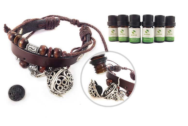Essential Oil Diffuser Pendant Necklace or Faux Leather Bracelet