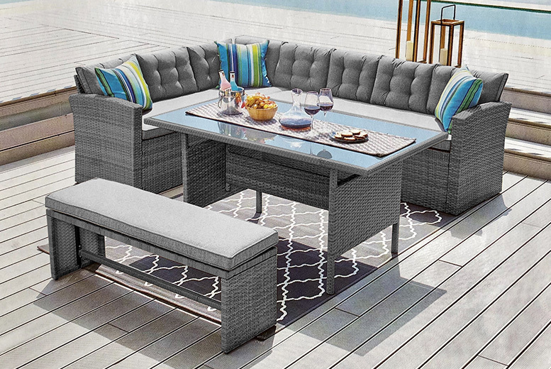 10-Seater Rattan Garden Furniture Set with Optional Cover – 2 Colours! from £479.00