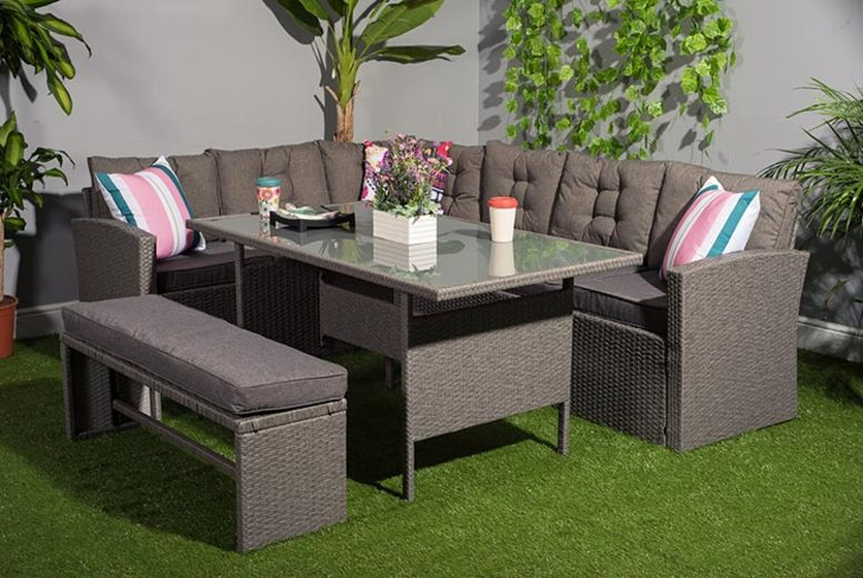 10-Seater Rattan Grey Garden Furniture Set with Cover