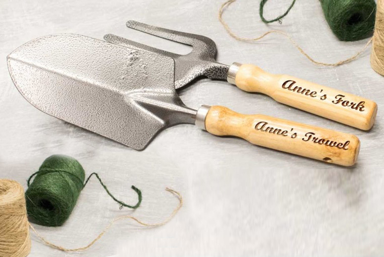 Personalised Garden Fork and Trowel Tool Set for £6.99