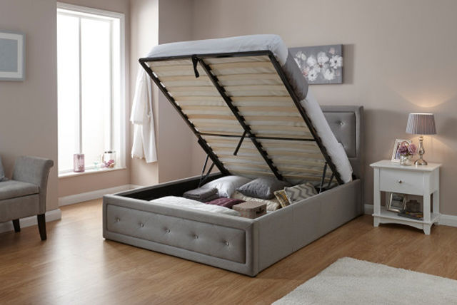 ... Hollywood Upholstered Diamanté Ottoman Storage Bed Lifted Up To Revel  Storage Space ...