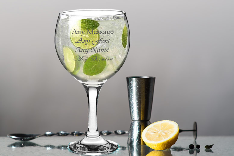 Personalised Engraved Spanish Balloon G&T Glass for £5.99