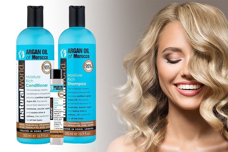 3pc Moroccan Argan Oil Haircare Set- 1 or 2! from £6.99