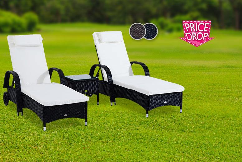£169 instead of £399.99 (from Aosom) for a three-piece rattan furniture set including two sun loungers and a table - choose black or brown and save 58%