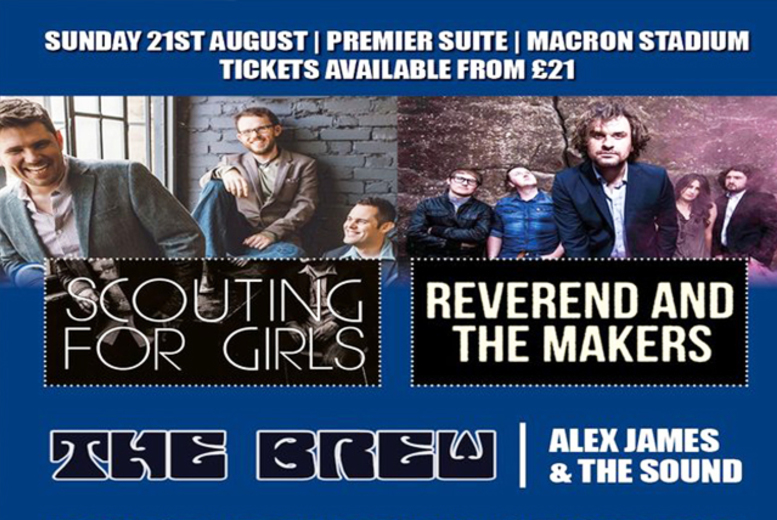 £34 instead of £55 for a VIP ticket to see 'Scouting for Girls' at the Macron Stadium, Bolton on 21st August - save 38%