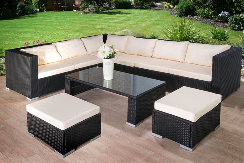 9pc Rattan Corner Sofa with Stool & Coffee Table Set for £479.00