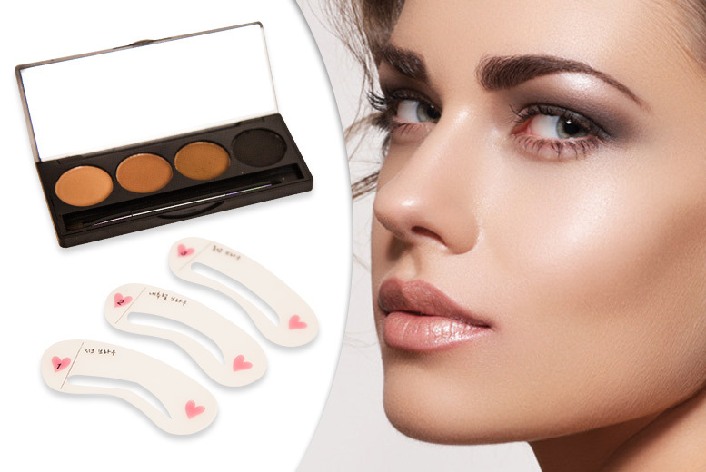 GlamK Brow Palette with Brush and Stencils