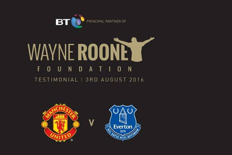 £6 for a junior ticket to Wayne Rooney's Testimonial match, £17 for an adult ticket from Wayne Rooney Foundation - watch Manchester United V Everton and save up to 40%
