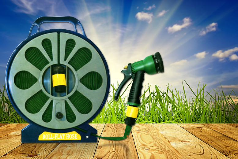 £6.98 instead of £39.99 (from Direct 2 Publik) for a 50ft lay flat garden hose with spray nozzle - save 83%