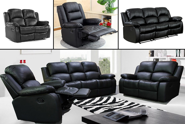 Black Faux Leather Reclining Sofa Set – Delivery Included! from £199.00