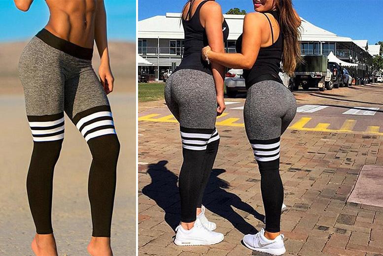 3-Stripe Workout Leggings – UK Sizes 8-12! for £7.99