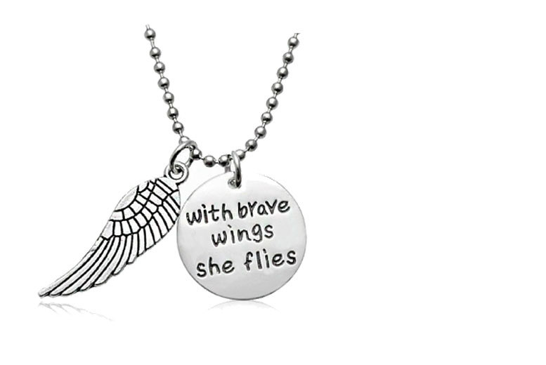 Engraved 'With Brave Wings She Flies' Necklace