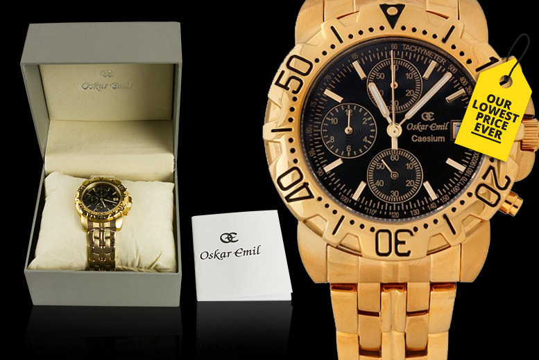 Oskar Emil Caesium Gold-Plated Chronograph Watch - 3 Designs!