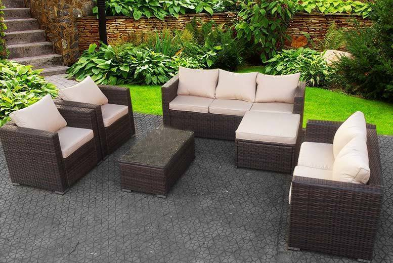 8-Seater Rattan Garden Set & Table with Cover Option – 3 Colours! from £469.00