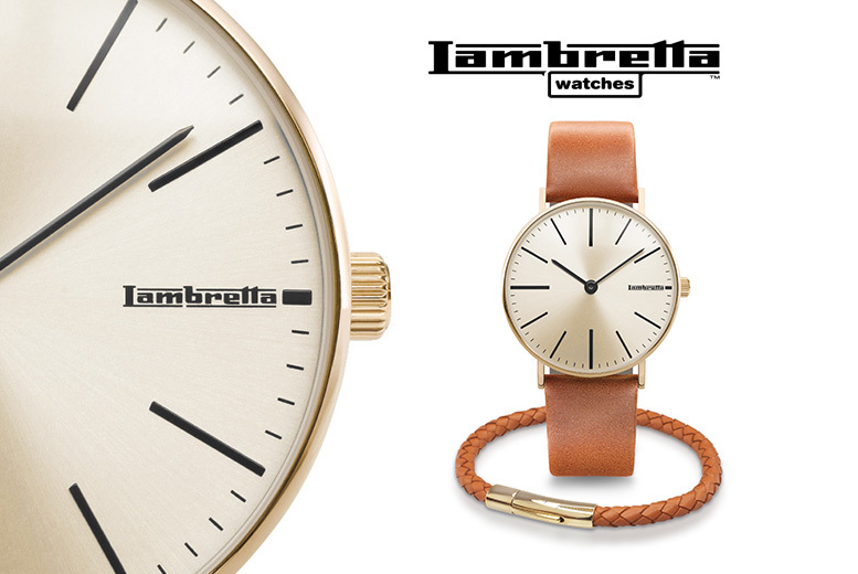 Lambretta Cesare 42 Gold-Plated Watch & Leather Bracelet