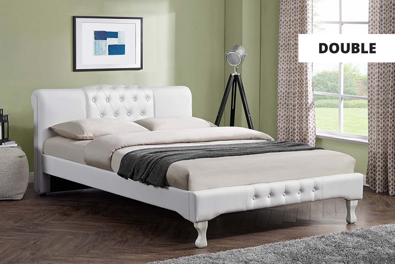Knightsbridge White Faux Leather Bed - 2 Sizes!