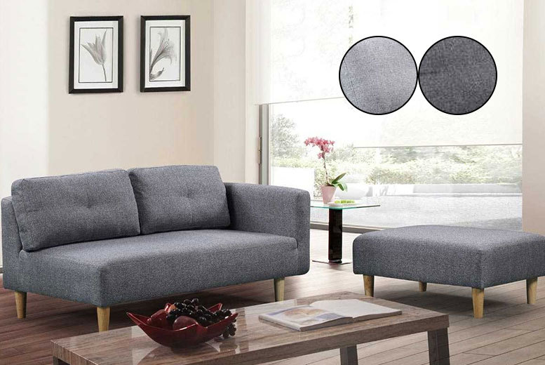 2-Seater Cavendish Fabric Sofa with Footstool – 2 Colours! for £219.00
