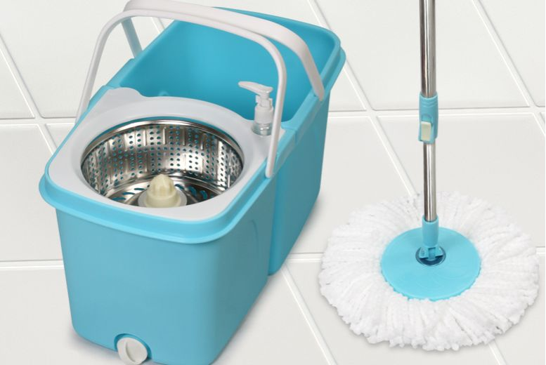 Dual Spin Mop with Clean and Dirty Water Bucket + Two Heads