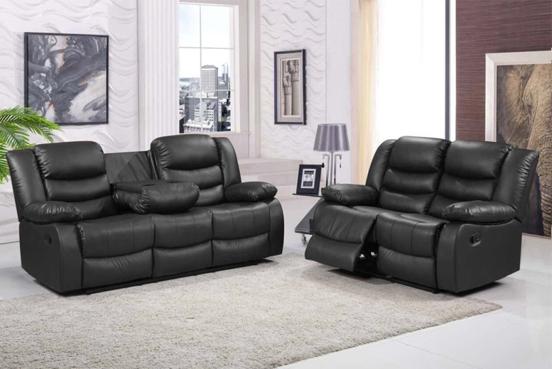 Romano Reclining Leather Sofa Suite – 4 Options, 2 Colours & Free Delivery! from £279.00