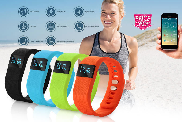 £14 instead of £59.99 (from Pretty Essential) for a TW64 smart Bluetooth fitness bracelet - choose black, blue, orange or green and save 77%