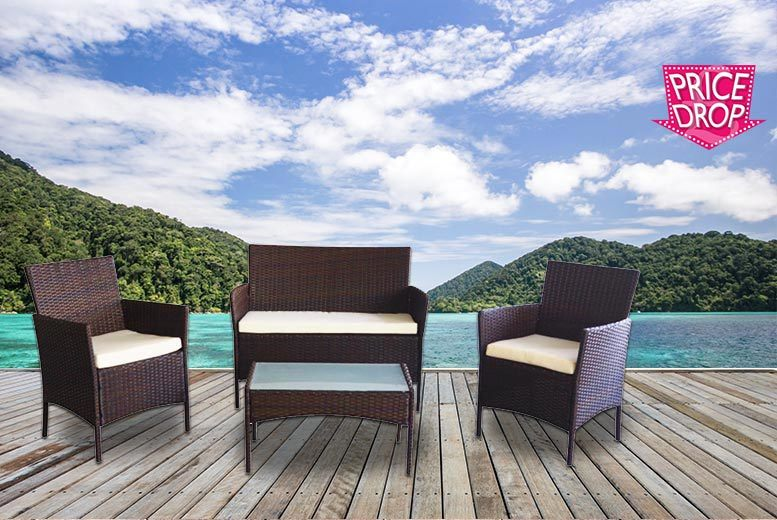 £89 instead of £470 (from Ricomex) for a four-piece rattan garden furniture set - transform your living space and save 81%