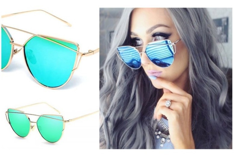 Cat Eye Mirrored Aviator Sunglasses – 2 Colours! for £6.99