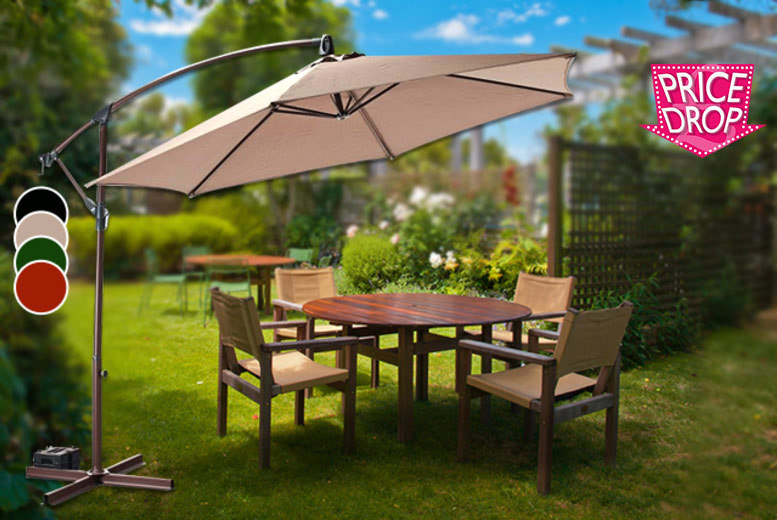 £39 instead of £144.99 (from Groundlevel) for a large banana parasol in a choice of black, terracotta, green and cream - save 73%