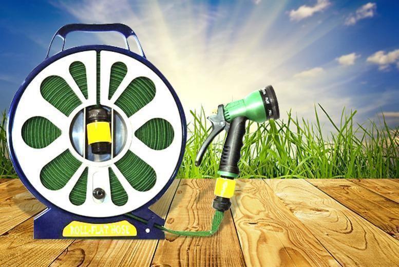 50ft Garden Flat Hose & Spray Nozzle – 7 Settings! for £6.99