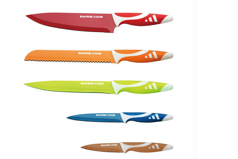6pc or 8pc Colourful Kitchen Knife Set from £7.99
