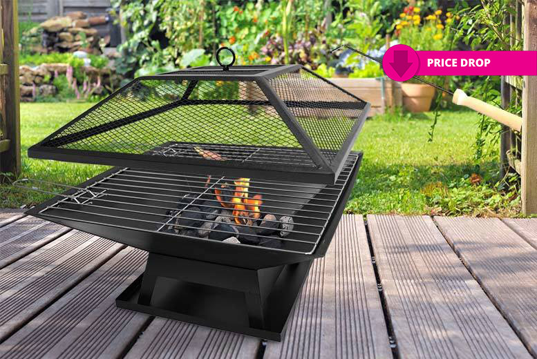 Square Fire Pit with BBQ Grill for £24.00