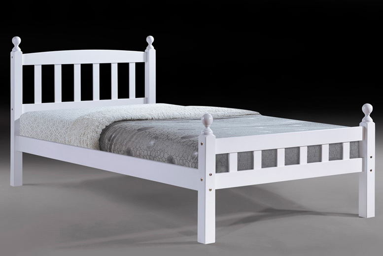 Classic White Jenny Wooden Single Bed with Mattress Option!